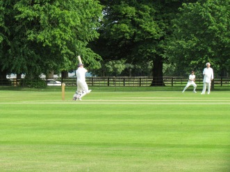 Tom miscues a short ball and is caught for a fine 57