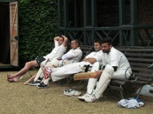 On the bench waiting to bat - Wes, Regan, Tabby and Waj