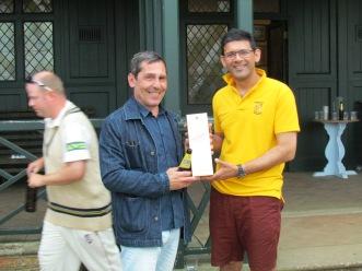 Rupert Styles wins the Nomads Man of the Match Johnnie Walker
