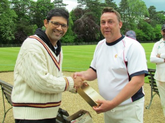 Man of Match Andy Stokes accepts the prize from Saurav