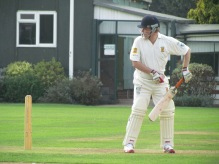 Chris Ledger caught behind for a fast duck