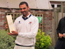 Dev Puri gets the MoM Award for his unbeaten century