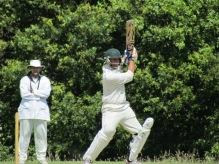 Shahzeb hits a four
