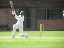 Ravi Mantha drives for four