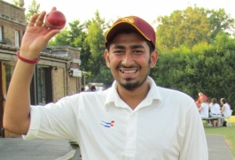 Rohan Sur celebrates a record-equalling 8 wicket haul
