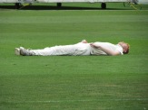 Cameron Edwards lies on the field after falling awkwardly - stays there for 45 minutes awaiting an ambulance