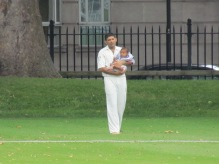 Saurav Sen - 5 wickets and holding the baby