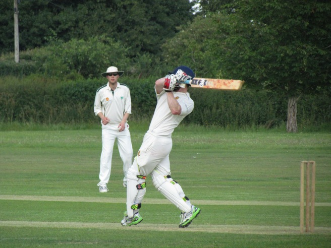 Tim holes out at mid-wicket