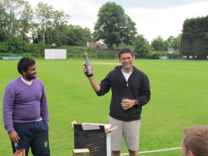 Man of the Match Saurav Sen for his 3/43 and leading KCC home with 30*