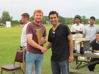 Man of the Match, Adam Allen-Turner, accepts the Award