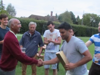 The Johnnie Walker presentation to Raul Cheema for his unbeaten ton