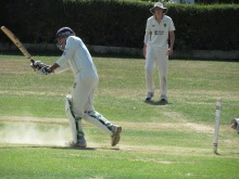 After a bright knock San spoons a dolly to mid-on