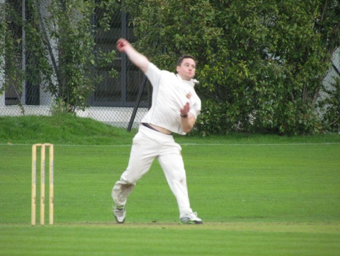 Rare sight - one for the archives; Tim bowling