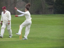 Hair aloft in Stef's delivery stride