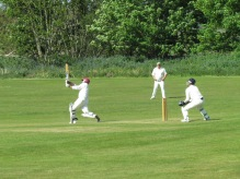 Neeraj lofts one down mid-on's throat to finish on 55