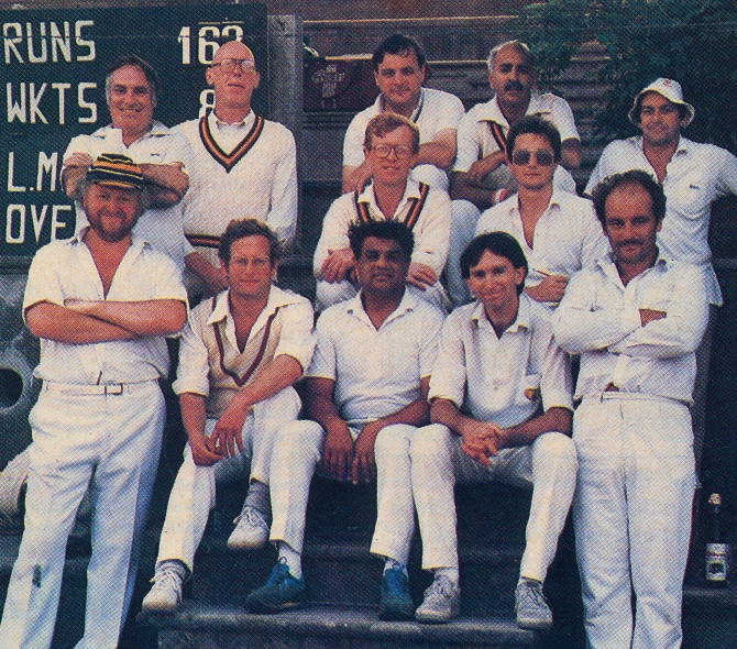 TOURISTS IN ROME 1987 Back: Mike Barnes, Bill Rodwell, Clive Butler, Sunil Amar, Mike Griffiths. Middle: Deane Golding, Ian McLean (the Scribe). Front: Bob Duran, Robert Leachman, Bhasker Patel, Steve Chambers, Graham Quintal.