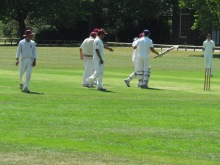 KCC India skipper is greeted at the wicket
