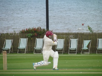 Jamie smashes a 6 towards the seashore on his way to 80 in 50 balls