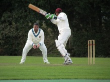 Amit Shanker plays square of the wicket