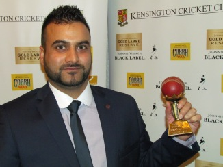 Wajid with his Hat-Trick trophy