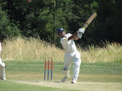 Saikat smashes a six in a quick-fire 38 in 28 balls