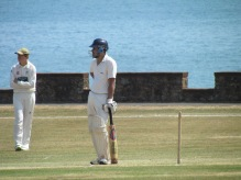 Ravi looks on during his excellent run-a-ball innings of 46