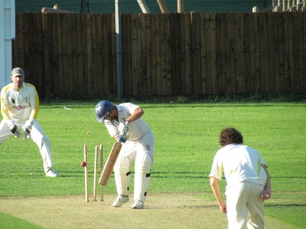 Oops! Tabrez bowled for a second-ball duck