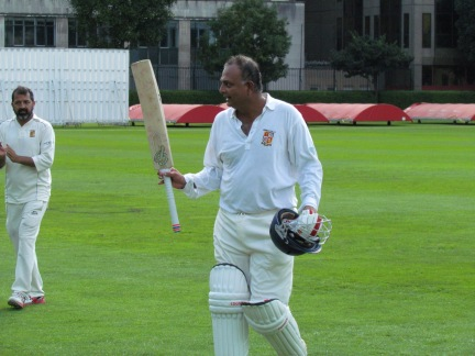 Jai acknowledges the applause for his unbeaten century - and wins the KCC man of the match award