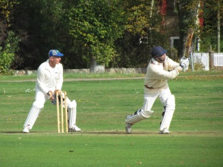 Preetinder lofts a four in a breezy knock of 37 in 32 balls
