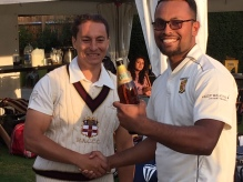 Edward Haines presents the Cobra to Saikat for his tight bowling