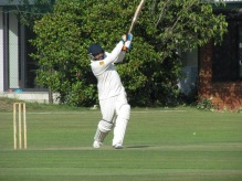 Harsha drives in an opening stand of 88 with Stef