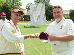 Sunil presents Andy Stokes with the KCC Cap