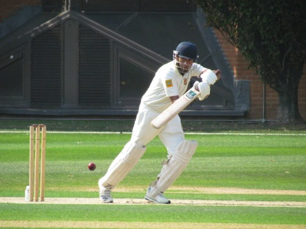 Nitin guides down past backward point during his bedrock innings