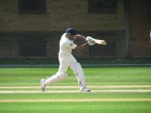Nitin flows a cover drive in his innings of 85
